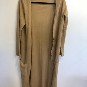 Linen-Blend Duster Cardigan Sweater